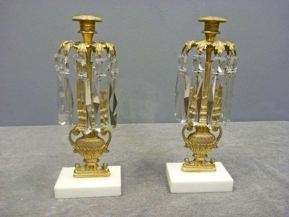 Pair Girandoles, Candlesticks with Prisms