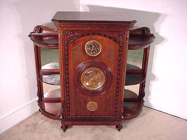 Walnut Victorian Parlor Cabinet, Possibly Allen Brothers
