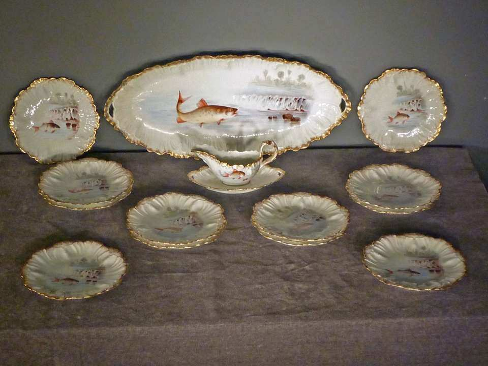 French Limoges Fish Set, 14 pc.