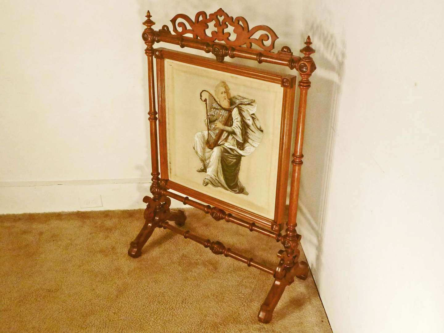 Saint Patrick Victorian Beaded Needlepoint Fire Screen with Harp