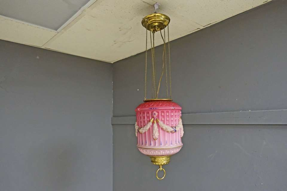 Victorian Hanging Hall Light with Pink Puffy Style Shade
