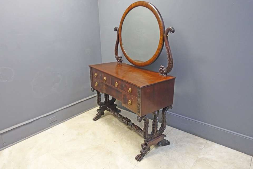 Classical Mahogany Empire Vanity with Carved Cornucopias