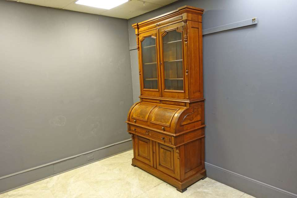Large Victorian Cylinder Roll Secretary Bookcase