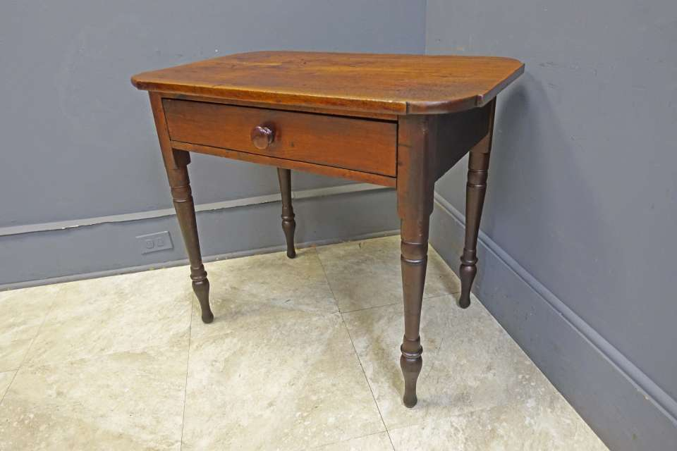Walnut Pennsylvania Sheraton One Drawer Stand/Desk, Signed E. Parsons