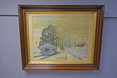 Print of Locomotive Train in Victorian Frame