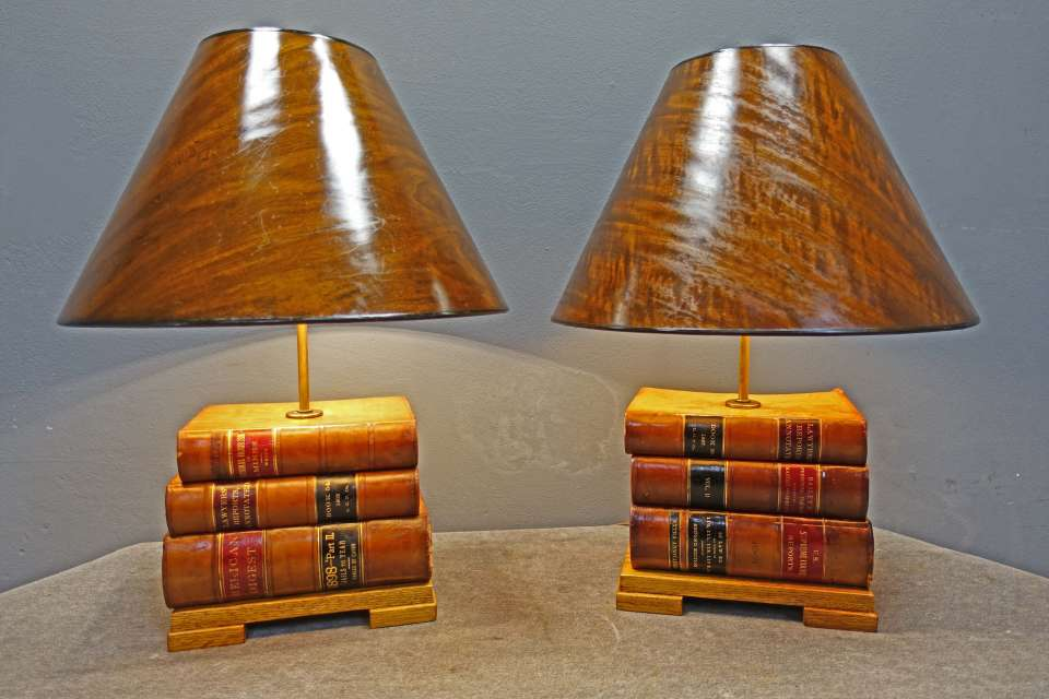 Pair of Lamps with Law Books