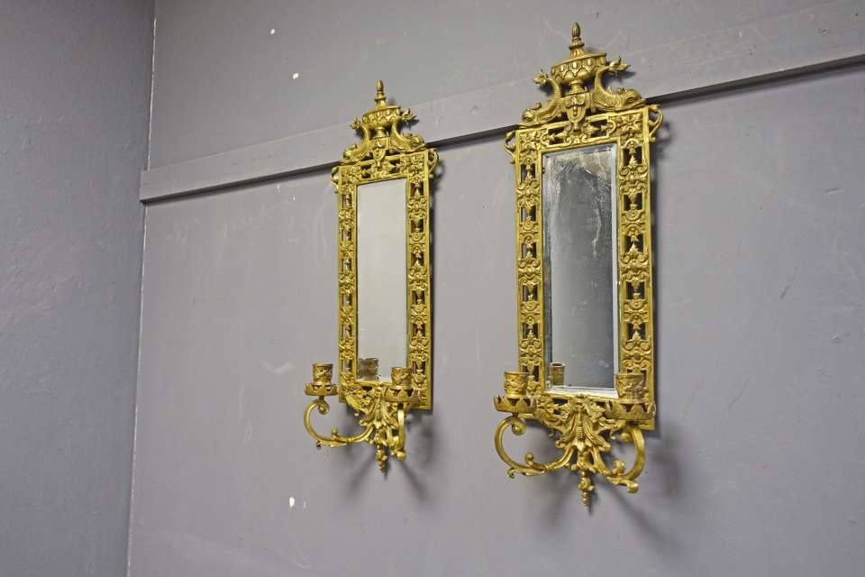 Pair of Brass Candle Sconces with Beveled Mirrors & Dolphin Design