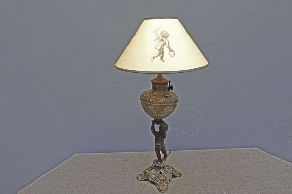 Victorian Figural Brass Table Lamp with Cupid or Putti