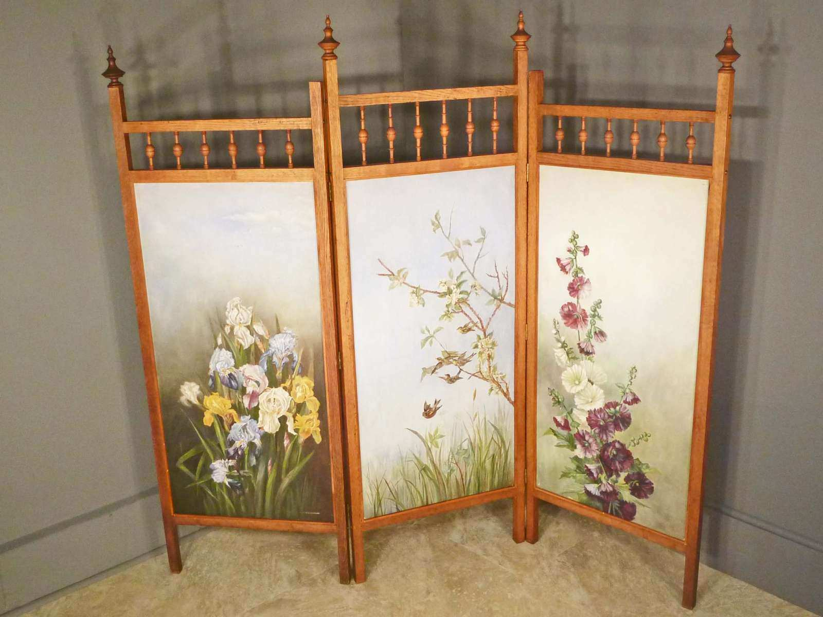 Hand Painted Oak Folding Screen with Iris and Hollyhocks