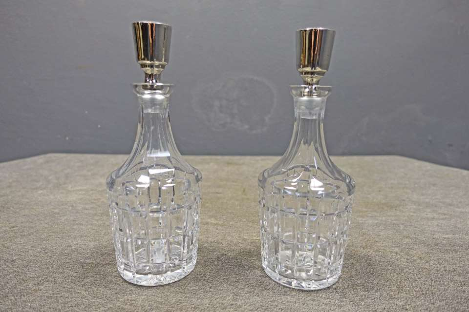 Pair Cut Glass Decanters with Sterling Stoppers by Hawkes