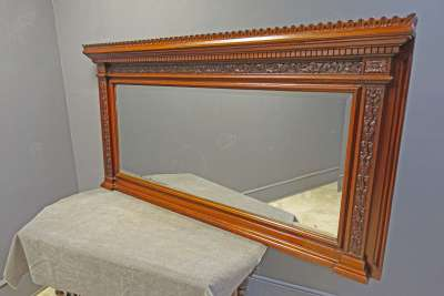 Carved Beveled Over Mantle Mirror