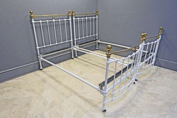 Pair Brass & Iron Twin or Single Beds